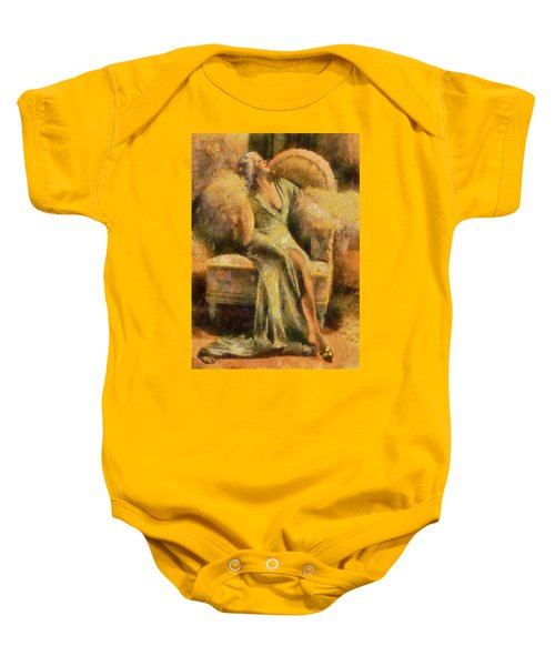 Baby Onesie featuring the digital art Portrait Of Jean Harlow by Charmaine Zoe