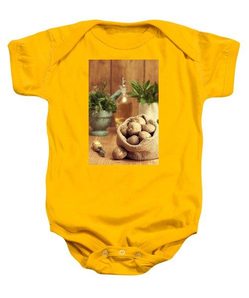 Potatoes Baby Onesie by Amanda Elwell