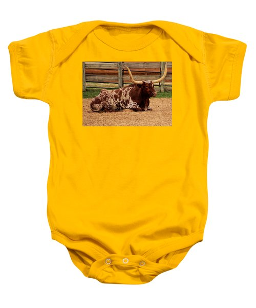 Red And White Texas Longhorn Baby Onesie