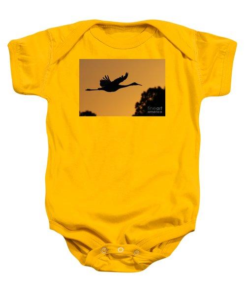 Sandhill Crane In Flight Baby Onesie