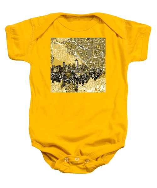 Seattle Skyline Abstract 2 Baby Onesie