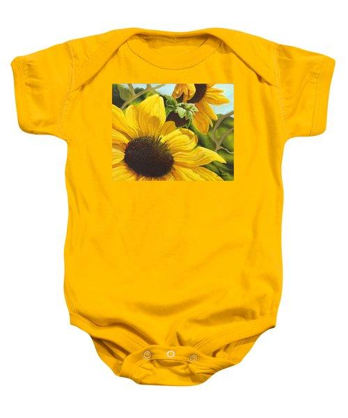 Silver Leaf Sunflowers Baby Onesie