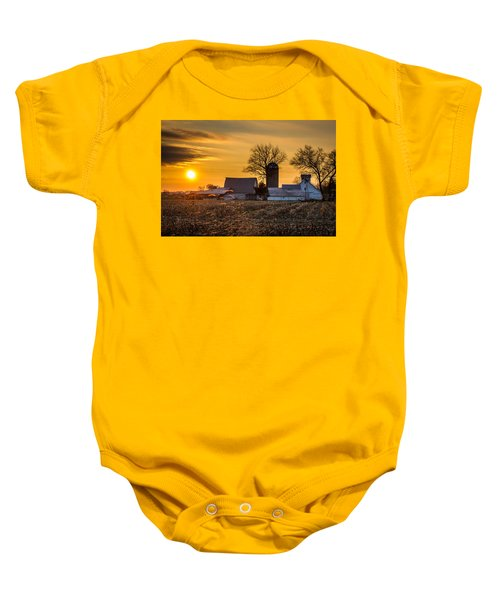 Sun Rise Over The Farm Baby Onesie