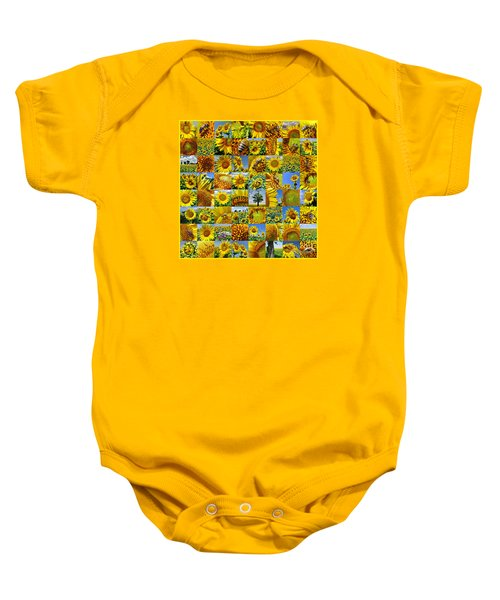 Sunflower Field Collage In Yellow Baby Onesie