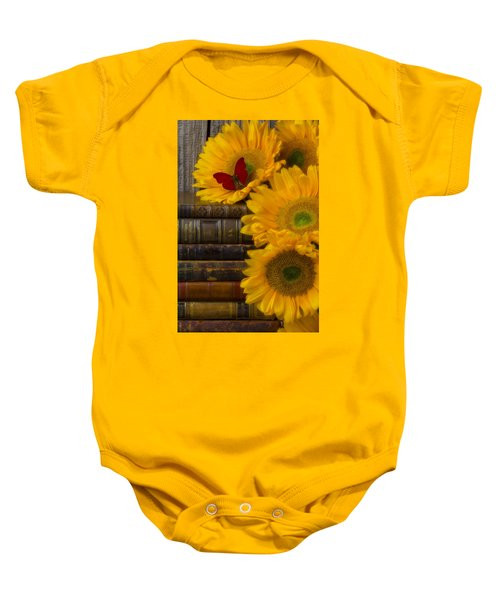 Sunflowers And Old Books Baby Onesie