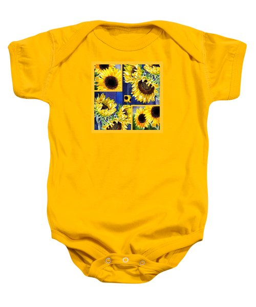 Baby Onesie featuring the painting Sunflowers Sunny Collage by Irina Sztukowski