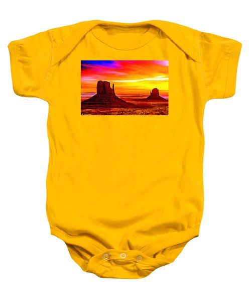 Sunrise Monument Valley Mittens Baby Onesie