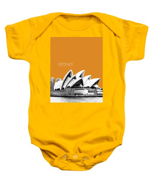 Sydney Skyline 3  Opera House - Dark Orange Baby Onesie