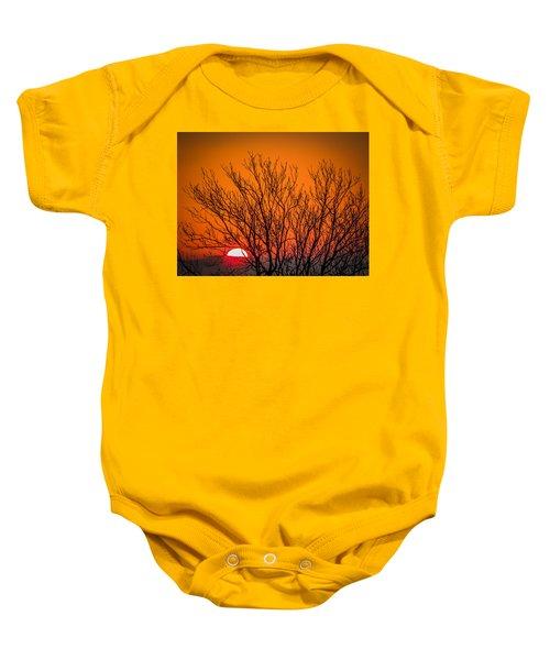 Tree Silhouetted By Irish Sunrise Baby Onesie
