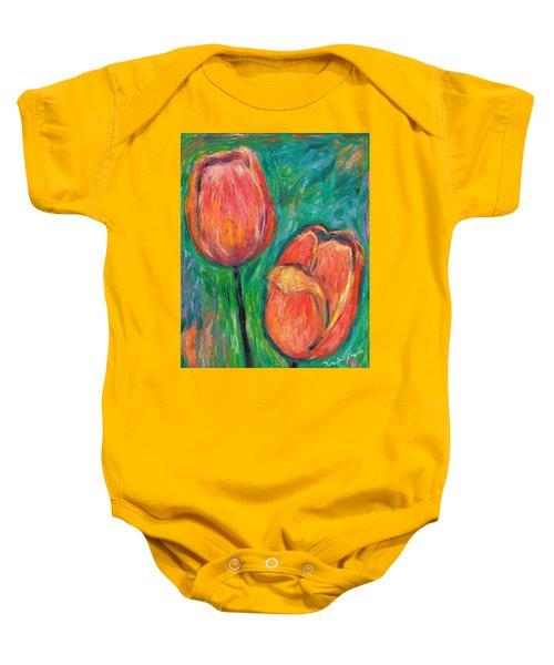 Baby Onesie featuring the painting Tulip Dance by Kendall Kessler