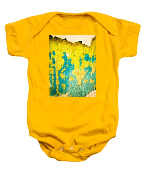 Baby Onesie featuring the photograph Yellow And Green Abstract Wall by Silvia Ganora
