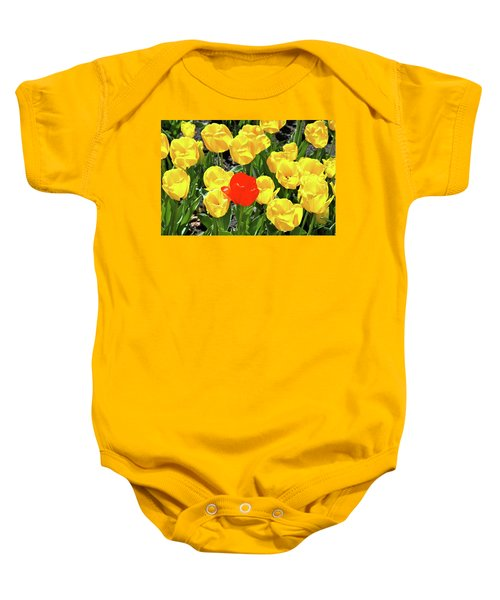 Yellow And One Red Tulip Baby Onesie