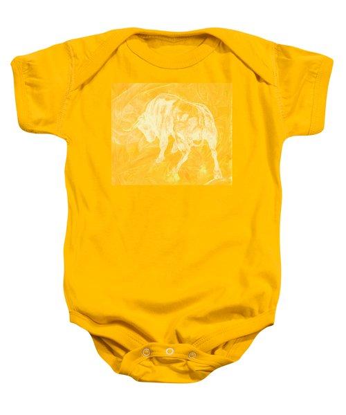 Yellow Bull Negative Baby Onesie