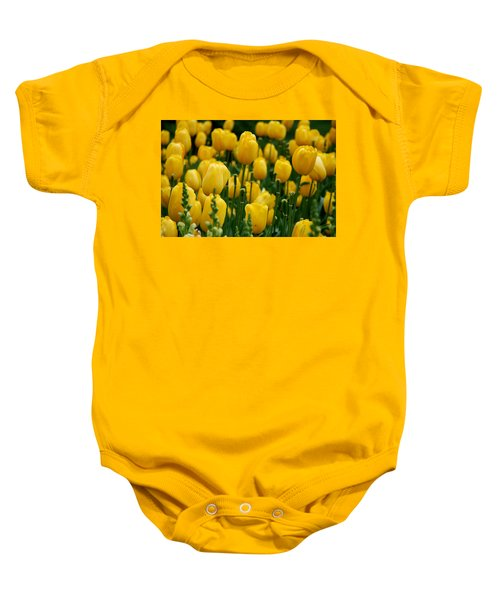 Baby Onesie featuring the photograph Yellow Tulip Sea by Jennifer Ancker