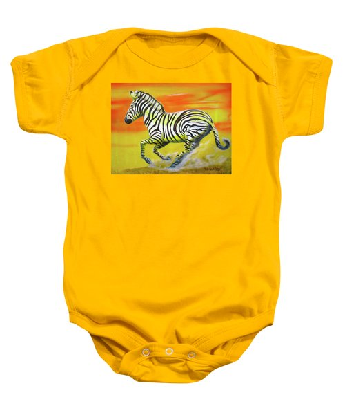 Zebra Kicking Up Dust Baby Onesie