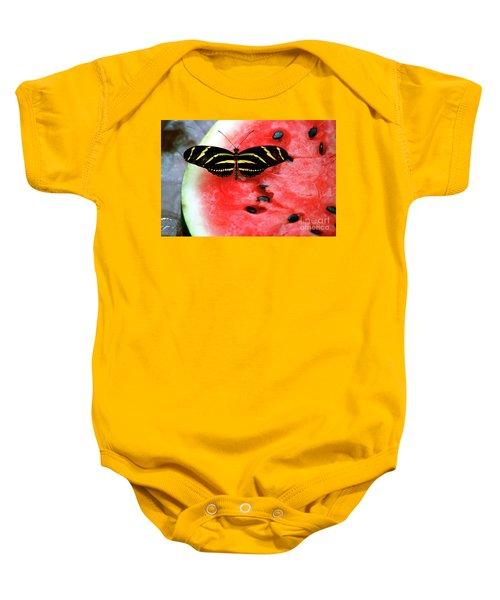 Zebra Longwing Butterfly On Watermelon Slice Baby Onesie
