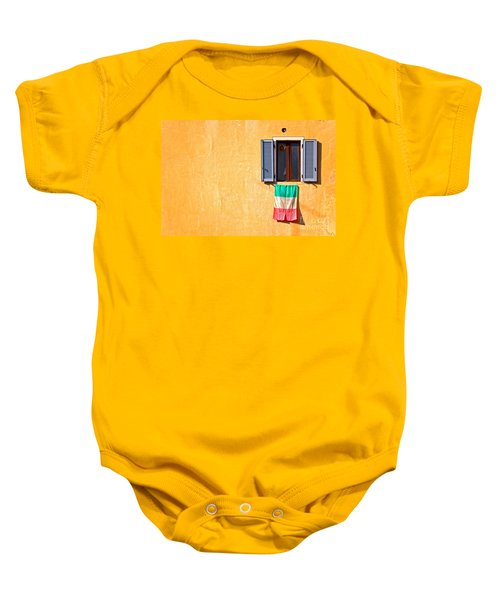 Italian Flag Window And Yellow Wall Baby Onesie by Silvia Ganora