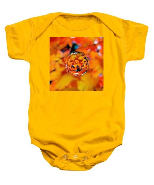 Marbled Orange Maple Leaves Baby Onesie