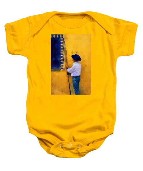 Spanish Man At The Yellow Wall. Impressionism Baby Onesie
