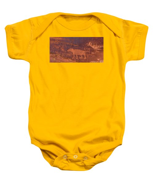 Baby Onesie featuring the photograph Ancient Native American Petroglyphs On A Canyon Wall Near Moab. by Jim Thompson