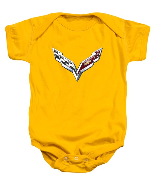 Chevrolet Corvette 3d Badge On Yellow Baby Onesie by Serge Averbukh
