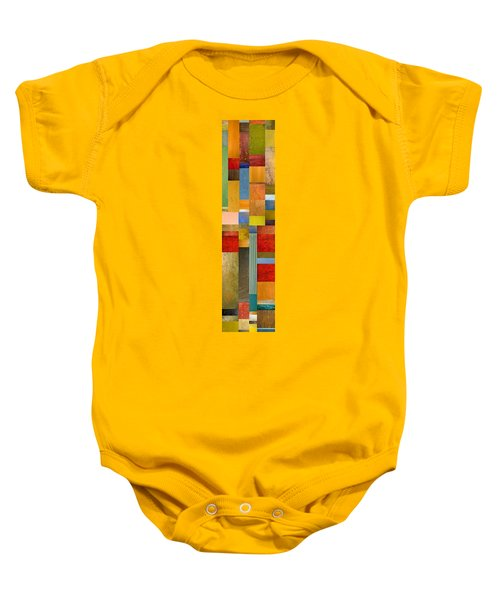 Color Panels With Green Grass Baby Onesie