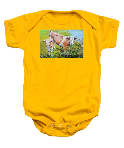 Cow And Calf Painting Baby Onesie