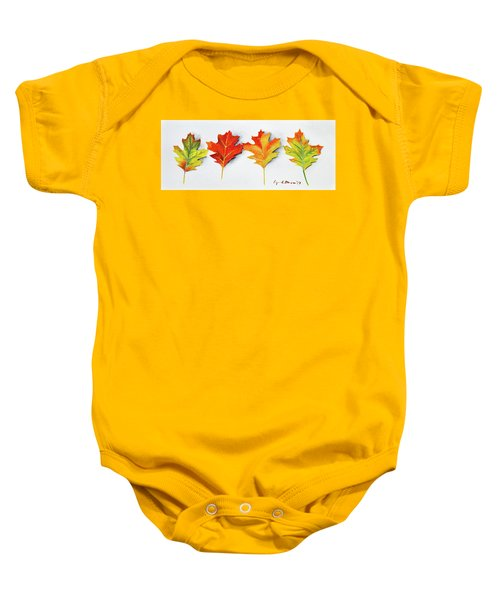 Four Autumn Leaves Baby Onesie