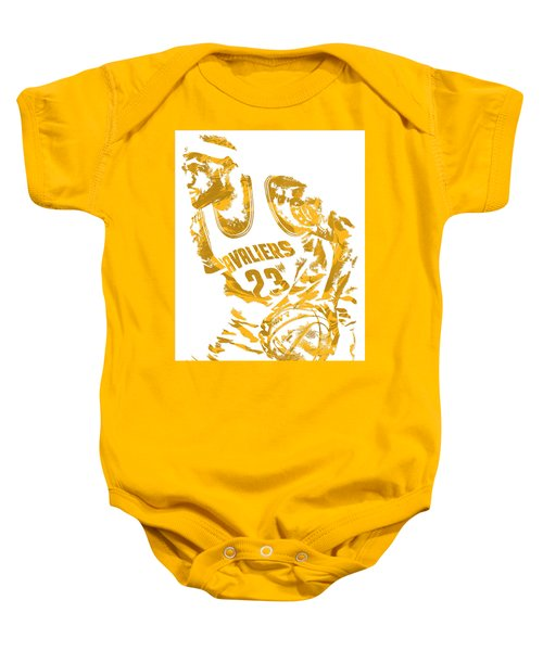 Lebron James Cleveland Cavaliers Pixel Art 7 Baby Onesie by Joe Hamilton