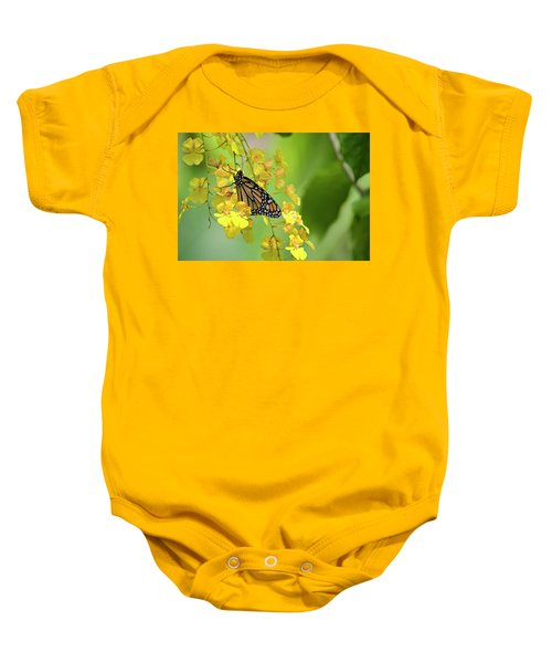 Monarch Butterfly On Yellow Orchids Baby Onesie