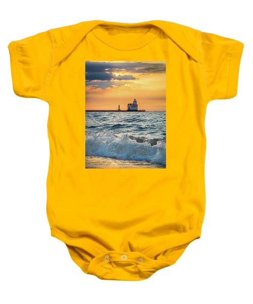 Baby Onesie featuring the photograph Morning Dance On The Beach by Bill Pevlor