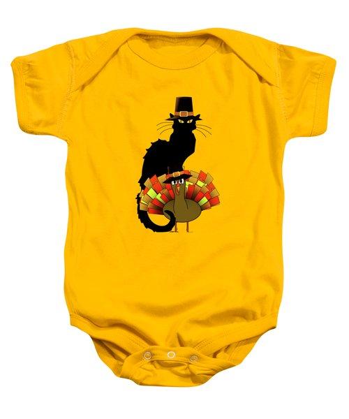 Thanksgiving Le Chat Noir With Turkey Pilgrim Baby Onesie by Gravityx9   Designs