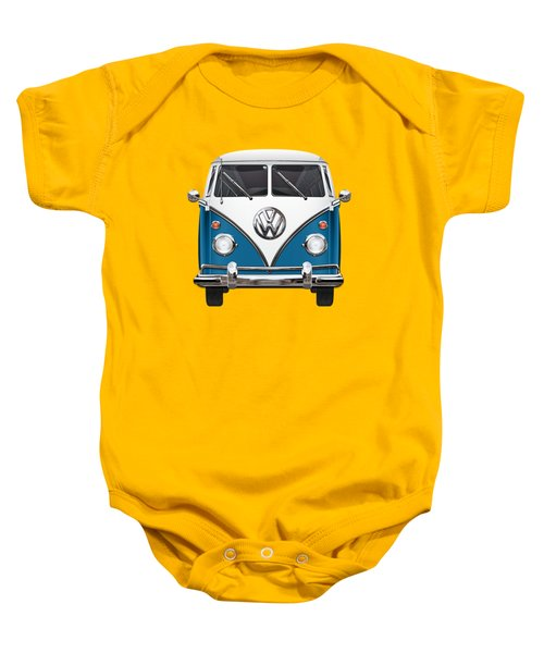 Volkswagen Type 2 - Blue And White Volkswagen T 1 Samba Bus Over Orange Canvas  Baby Onesie