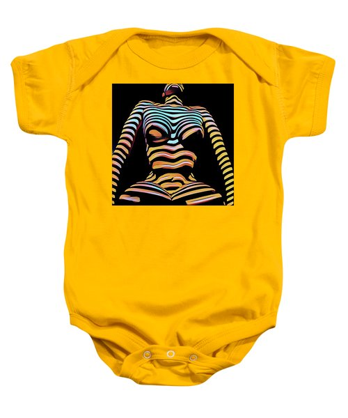 1205s-mak Seated Figure Zebra Striped Nude Rendered In Composition Style Baby Onesie