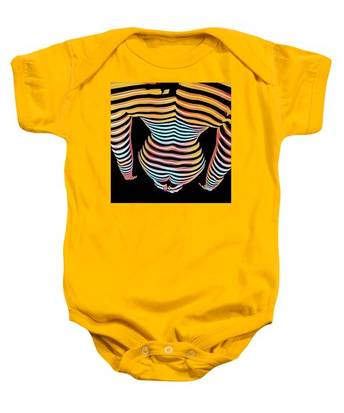1262s-mak Woman's Strong Shoulders Back Hips Rendered In Composition Style Baby Onesie