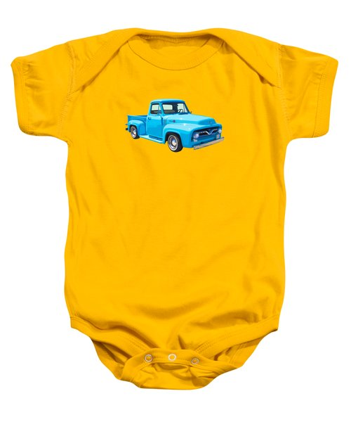 1955 Ford F100 Blue Pickup Truck Canvas Baby Onesie by Keith Webber Jr