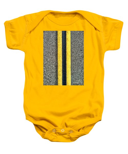 Double Yellow Road Lines Baby Onesie