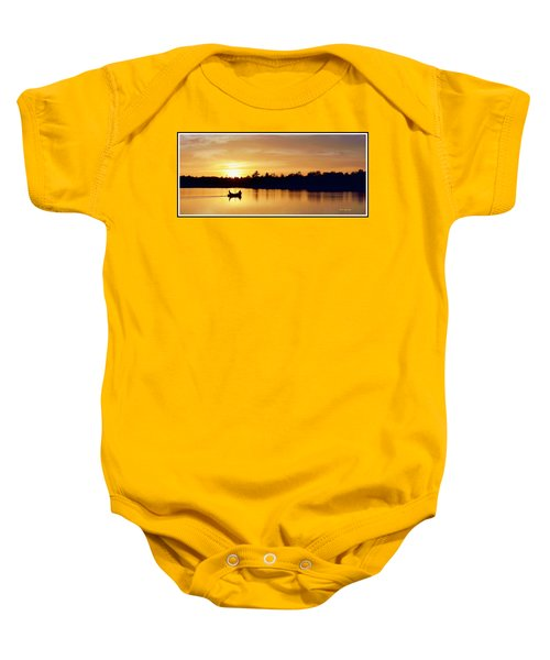 Fishermen On A Lake At Sunset Baby Onesie