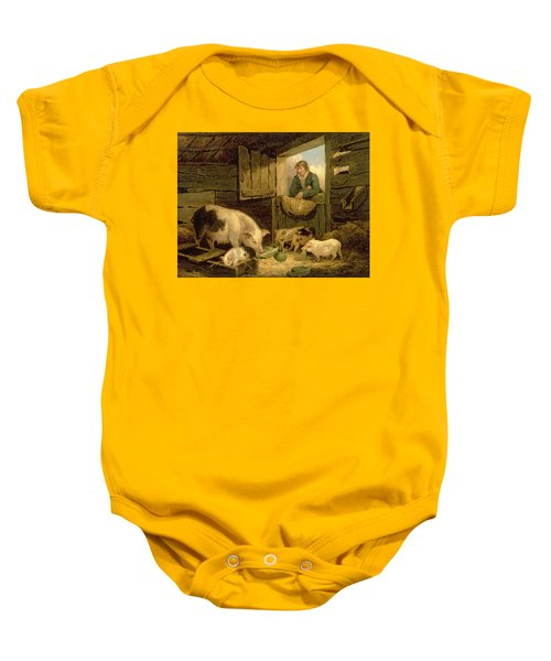 A Boy Looking Into A Pig Sty Baby Onesie