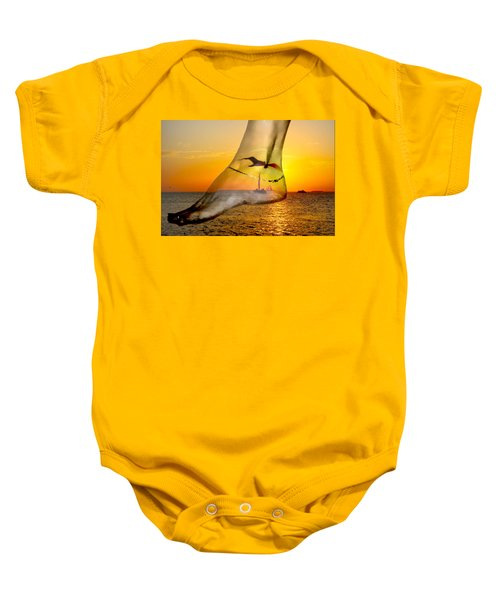 A Foot In The Sunset Baby Onesie