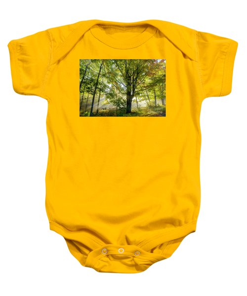 A Misty Fall Morning Baby Onesie
