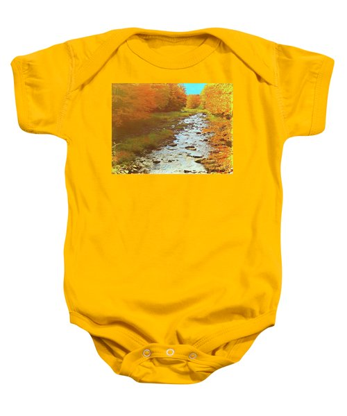 A Small Stream Bright Fall Color. Baby Onesie