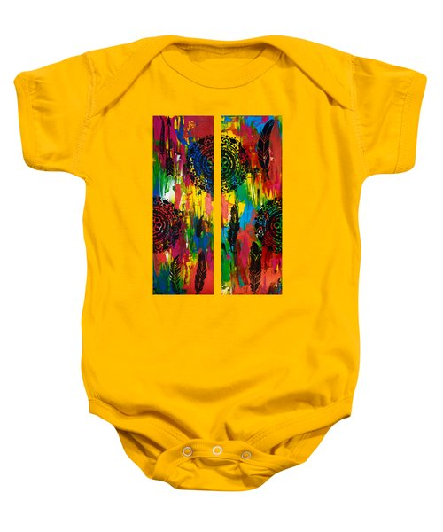 Abstract Boho Design - Diptych By Nikki And Kaye Menner Baby Onesie