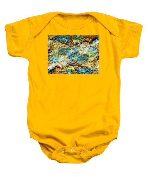 Abstract Nature Tropical Beach Rock Blue Yellow And Orange Macro Photo 472 Baby Onesie