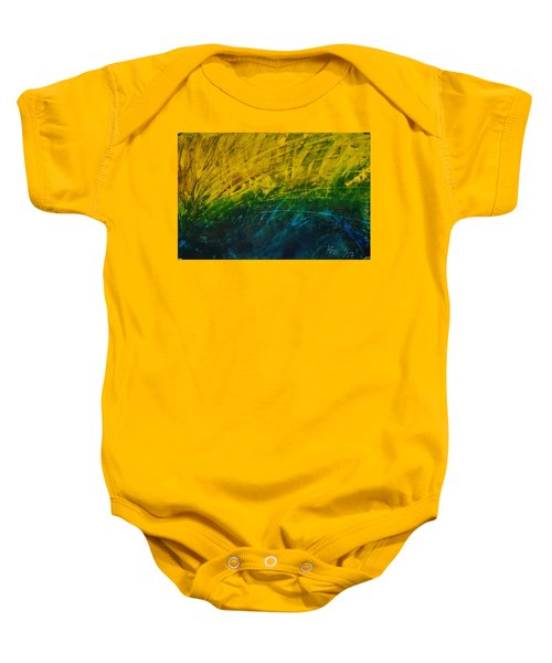 Abstract Yellow, Green With Dark Blue.   Baby Onesie