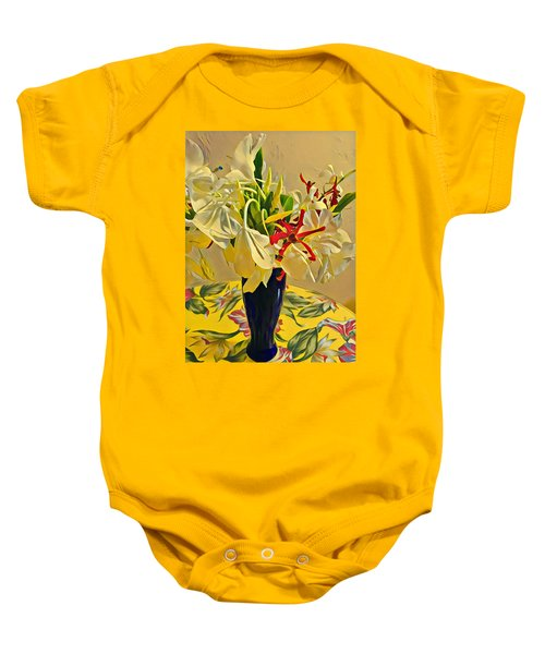 Aloha Bouquet Of The Day - White Gingert With Red Orchids - A New Hue Baby Onesie
