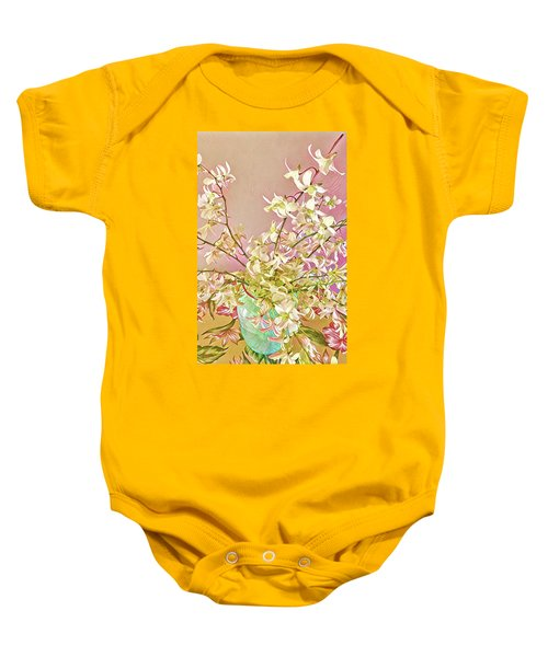 Aloha Bouquet Of The Day - White Orchids In Pink Baby Onesie