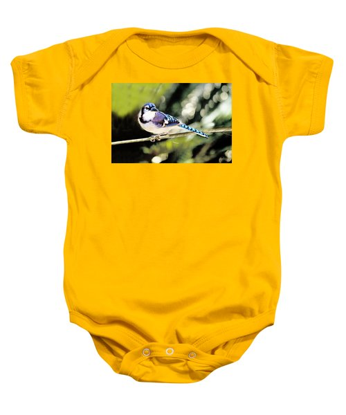 American Blue Jay On Alert Baby Onesie