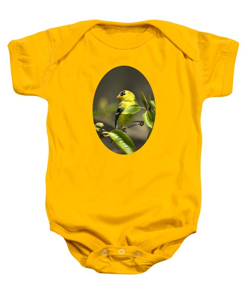 American Goldfinch On Branch Baby Onesie by Christina Rollo