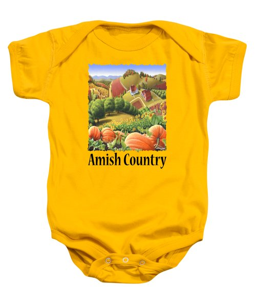 Amish Country - Pumpkin Patch Country Farm Landscape Baby Onesie